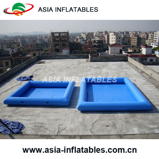 0.9mm PVC Tarpaulin Big Inflatable Pool, Blue Square Shape Inflatable Pool  For Rent