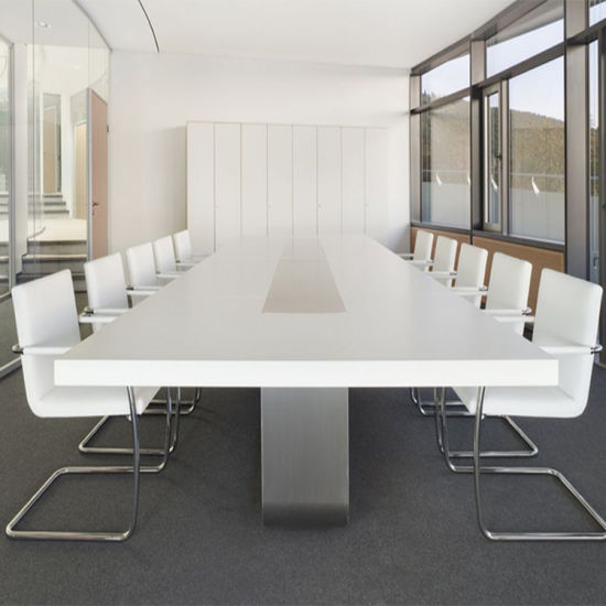 China USA Luxury Design White Corian Furniture Office Meeting - Corian conference table