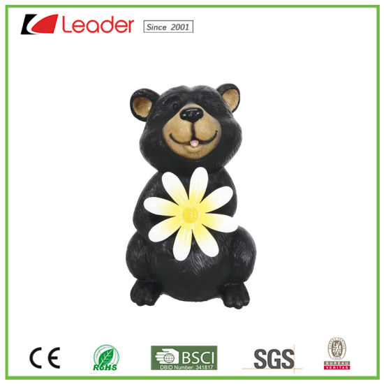Top Sales Black Bear With Metal Flower Garden Resin Statue Ornmant For  Polyresin Garden Decoration
