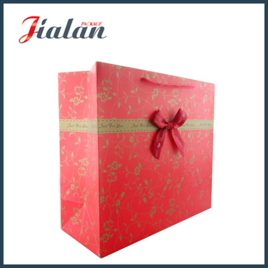 "Customize Ribbon Rope & Bowknot ""Love"" Shopping Carrier Gift Paper Bag pictures & photos"