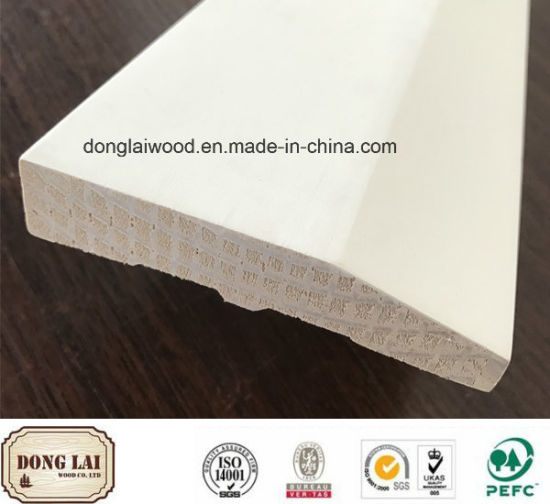 Decoration Material Good Quality Outdoor Solid Wood White Primer Baseboard for Villa pictures & photos