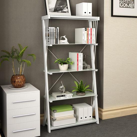 office bookshelf. Perfect Bookshelf Furniture Home Office Z Shape Tempered Glass Metal Bookshelf Intended