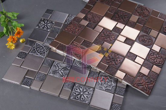Metal Series Stainless Steel Mix Resin Glass Mosaic (CFM762) pictures & photos