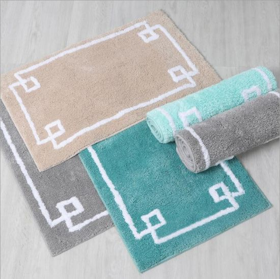 Square Rug Tufted Mat Pile Height 20mm Anti Slip Bath Water Absorbing
