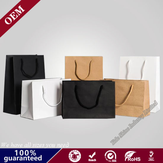 Wholesale Handle Gift Kraft Paper Bag with Customized Stamping Logo
