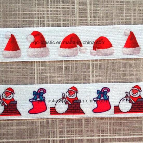 popular wholesale festival items of printed elastic christmas ribbon
