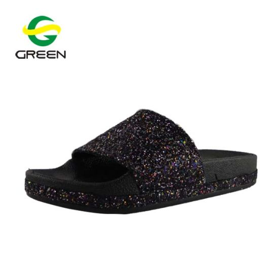 c11141802bbae3 Greenshoe Ladies Fancy Glitter Shiny Flat Slide Sandal Lady Slide Sandal
