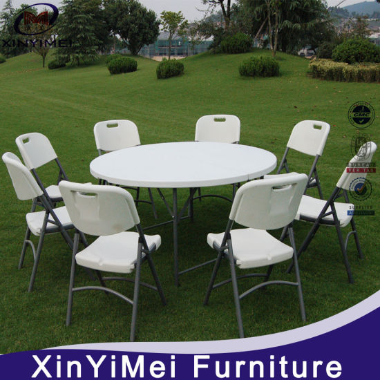China Plastic Banquet Folding Table and Chairs 6FT Round Table