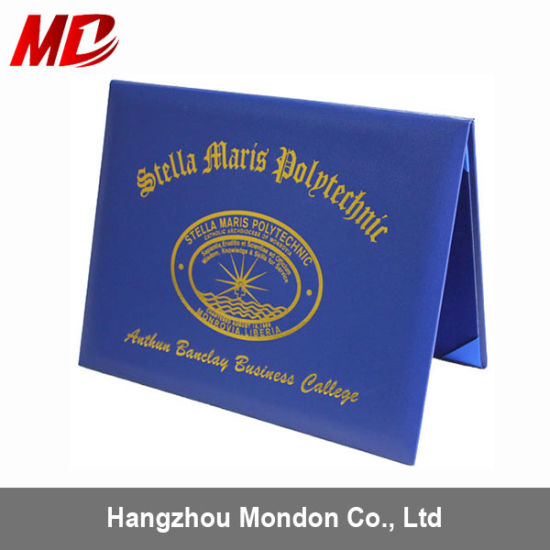 china royal blue leatherette diploma folder covers with velvet