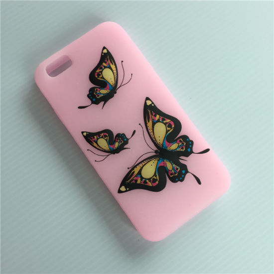 High Quality Custom Printed Butterfly Silicone Pink Phone Case pictures & photos