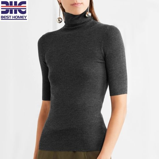 7f2251e9d3bd95 Women′s Ribbed Merino Wool Turtleneck Short Sleeve Knitted Pullover Spring  Cropped Sweater for Ladies