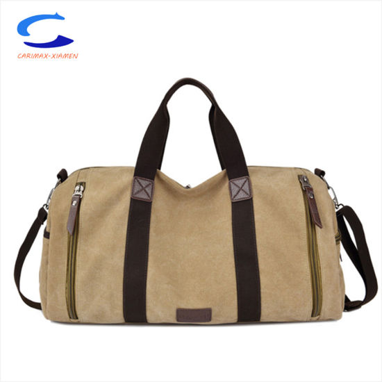 China Super Light Weight Whole 17 Brown Canvas Nylon Arround Open Durable Carry On Handbags Travel Tote Bag