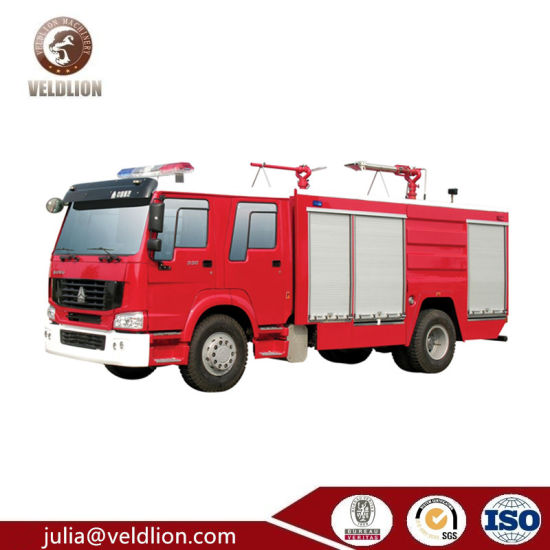 HOWO 4X2 Fire Engine Truck with Fire Extinguisher, 6000L Fire Fighting Truck and Equipment pictures & photos