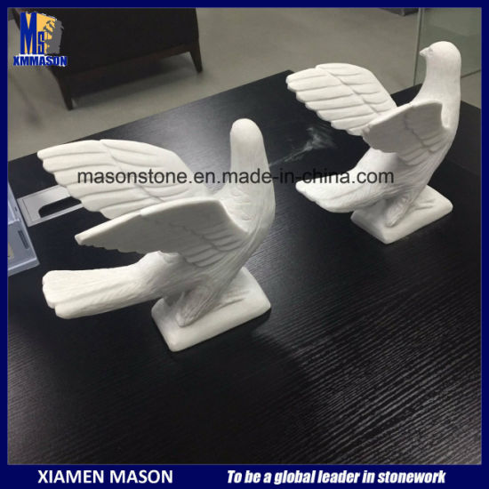 Xiamen Factory Supply Wholesale White Marble Stone Bird Carving Sculpture