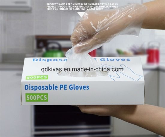 Disposable Plastic PE Film Gloves for Food and Household