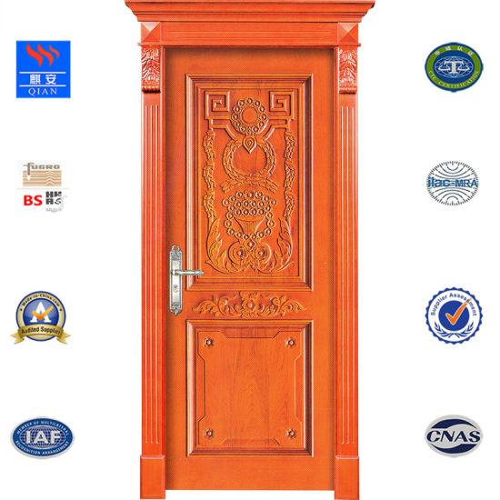 China Brown Color Interior Door Natural Wooden Door Solid Wood Door