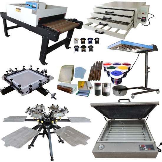 6 Color 6 Station T-Shirt Screen Printing Full Set with Micro Registration