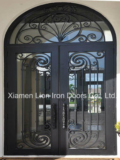 China Modern Galvanized Wrought Iron Single Door Design With Safety