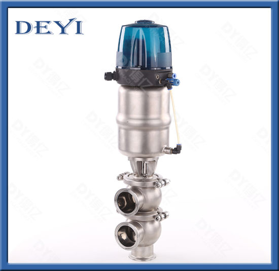 SS304 SS316L Sanitation Hygienic Phneumatic Clamping Ll Type Divert Seat Valve with Control Head