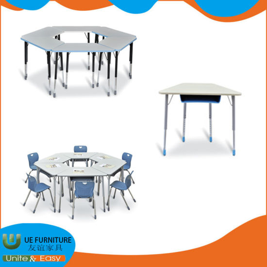 Middle School Steel Wood Trapezoid Training Table with Cheap Price