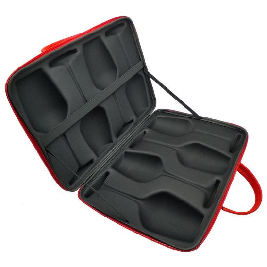 Zipper Closed 4 Slot Wine Glasses EVA Hard Shell Protectable Case