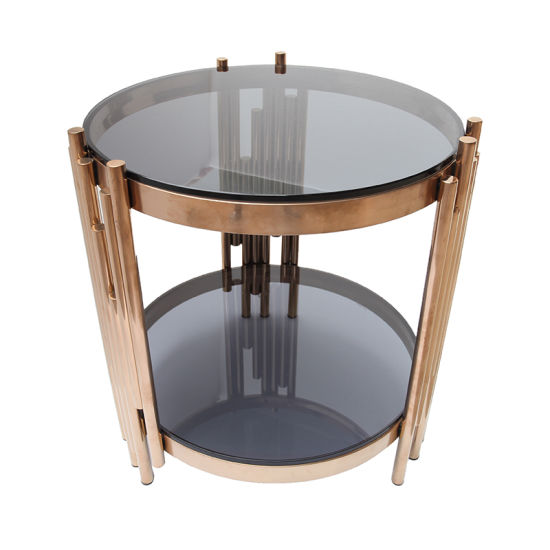 China Small Round Rose Gold Stainless, Small Round Metal And Glass Coffee Table