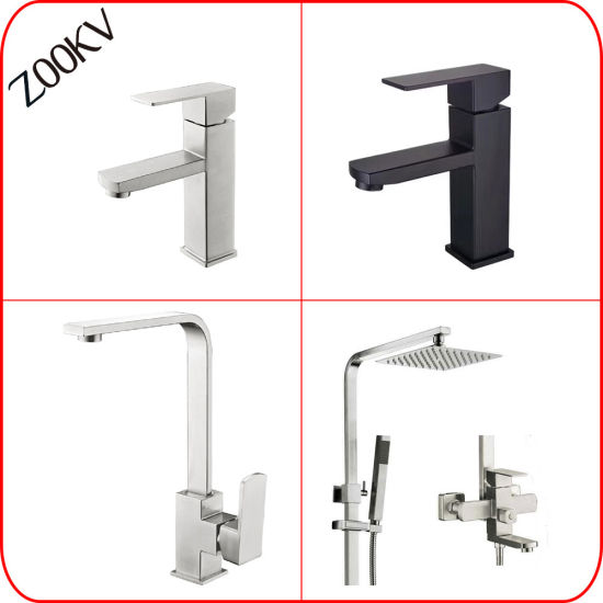 304 Stainless Steel Kitchen Bathroom Basin Water Hand Shower Bath Sink Square Mixer Faucet