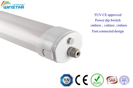 IP66 Ik10 IP69K Industrial, Food Factory Lighting LED Tri Proof Linear Light 150LMW TUV Ce Approved