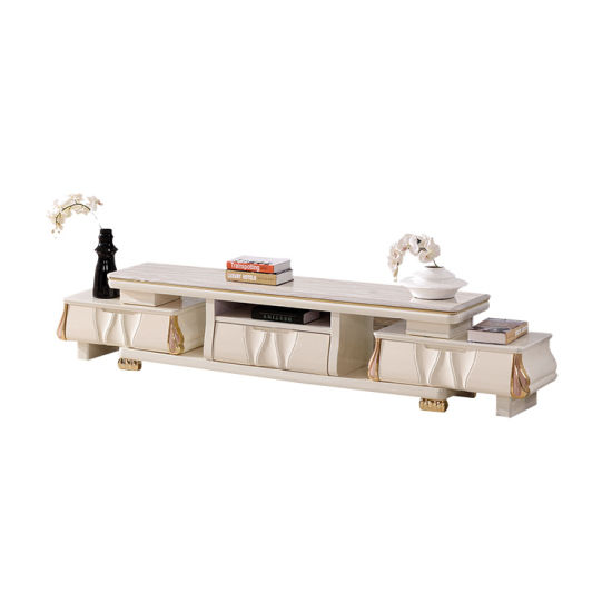 China Living Room Furniture Luxury Popular Marble Top Wooden White