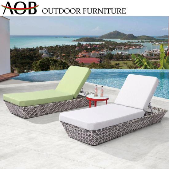 Wholesale Outdoor Garden Rattan Wicker Furniture Aluminium Poolside Sofa Bed Daybed Sunbed