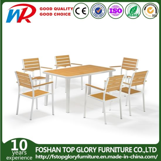 Garden Patio Leisure Restaurant Furniture Synthetic Wood Outdoor Dining Tables Furniture