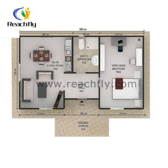 China 2 Bedroom Prefab House 50 Square Meters China Prefabricated House Modular House