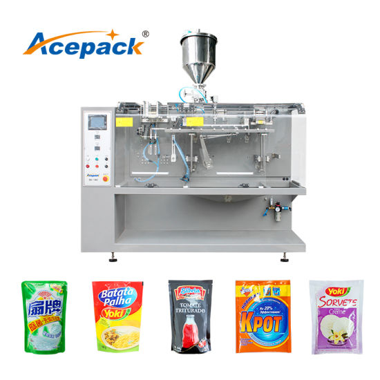 60ppm Horiztontal Premade Plastic Pouch Solid Granule Food Beans Candy Snacks Packing Packaging Machine