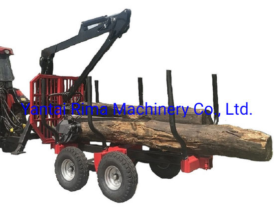6t Log Load Trailer Wood Timber Trailer with Crane