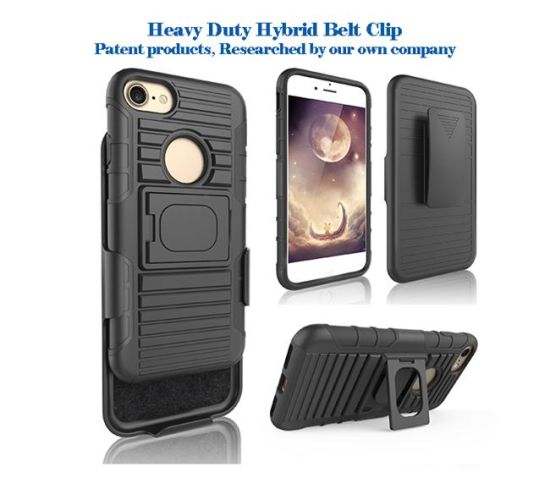 Hot Selling Shockproof Case for 3 in 1 Armor Holster Phone Case Heavy Duty Phone Case for iPhone 7/7 Plus Holster Belt Clip Case and Kickstand