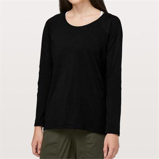 Wholesale Round Neck Merino Wool Womens Long Sleeve Tops