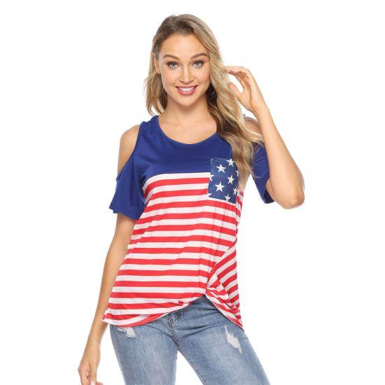 USA Flag Pattern Cold Shoulder T-Shirt with Front Pocket for Women