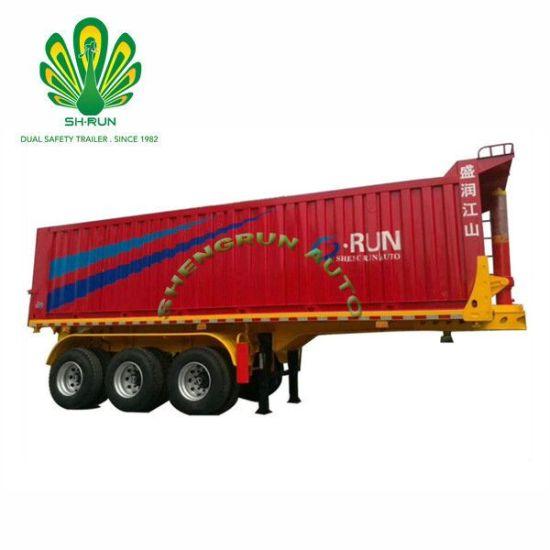 China Shengrun Van Heavy Duty Rear Dump Bulk Cargo Tipper Trailer
