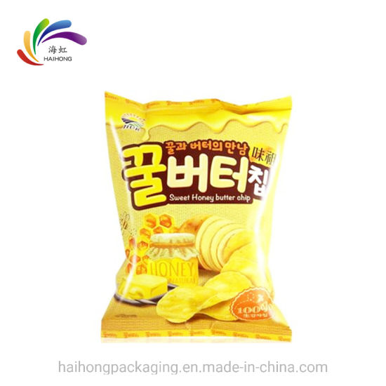 China Supplier Wholesale Custom Aluminum Foil Plastic Clear Pouch Back Seal Snacks Food Bag of Material for Packaging Potato Chips pictures & photos