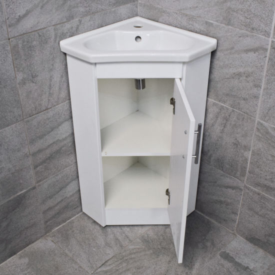 China Corner Vanity Unit Including Basin Sink White Gloss Cloakroom Unit China Corner Vanity Unit Bathroom Furniture