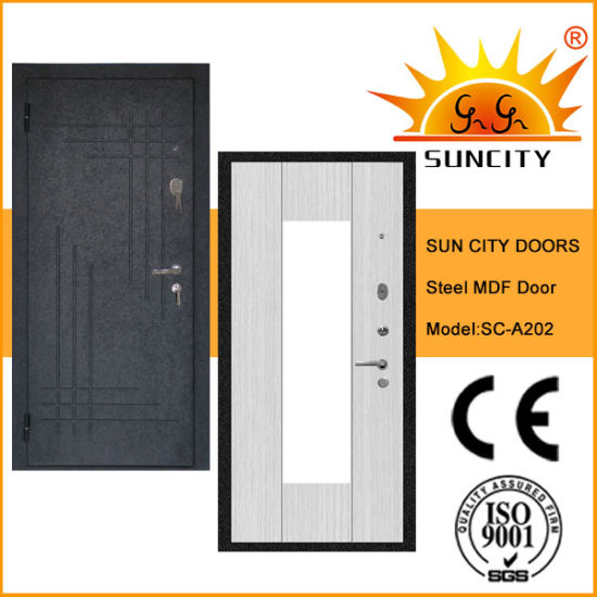 High Quality Security Wooden Steel MDF Door (SC-A202) pictures & photos