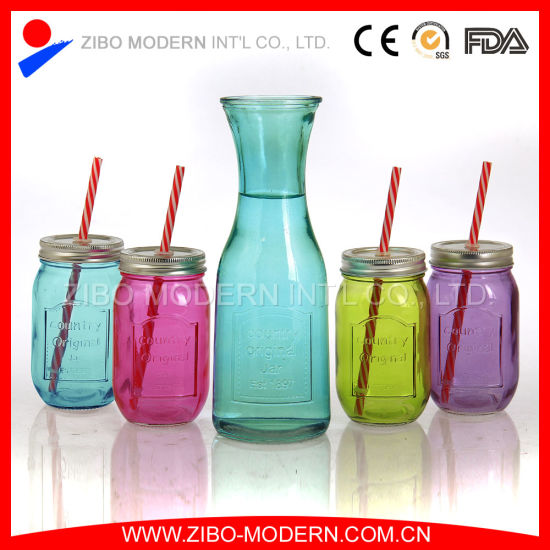 Wholesale Colored Glass Jars with Decorative Lids Straws pictures & photos