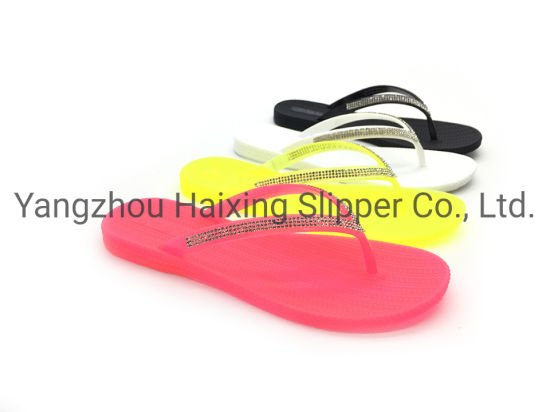 Flipflop Simple Sandals with Artifical Diamond Popular Slippers Outdoor Sandals