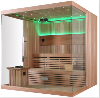 Monalisa 6 People Luxury Home Customized Cheap Dry Sauna with 8mm Folding Glass Door N Imported Wood for Sale