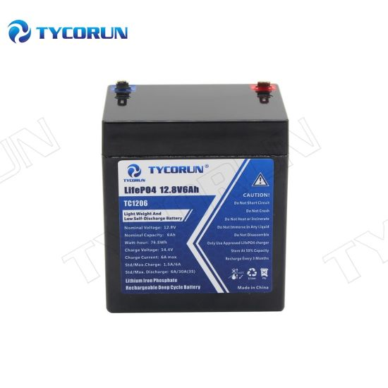 Tycorun 2000 Times Cycle 12V 6ah Rechargeable LiFePO4 Battery Pack Battery Solar System