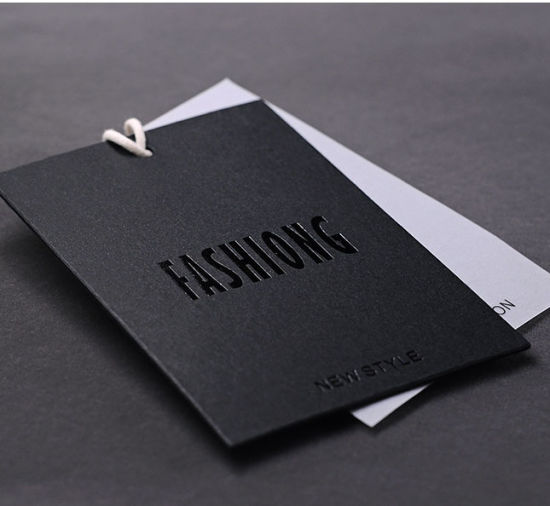 Custom Apparel Garment Black Clothing Price Paper Hang Tags with String/ Rope