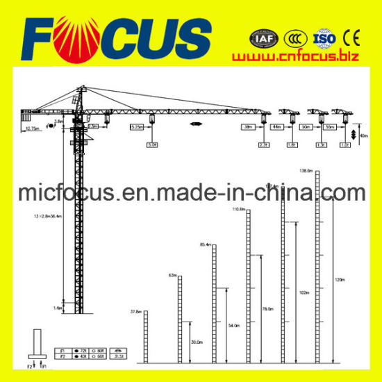 High Quality Qtz Series Tower Crane with Max  Hoisting  Capacity 6t 10t pictures & photos