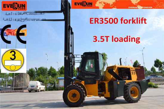 4X4 Forklift 3.5 Tons Rough Terrain Forklift Truck with Euroiii Engine