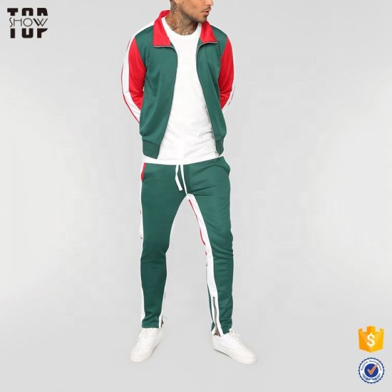 China Factory Men Slim Fit Tracksuit Color Block Custom Tracksuit in Green and Red