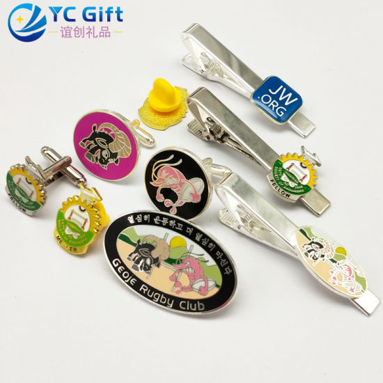 Customized Fashion Plating Silver Tie Bar Multifunction Metal Art Crafts Animal Souvenir Badge Colorful Metal Cuff Links Police Lapel Pin Design Your Won Logo